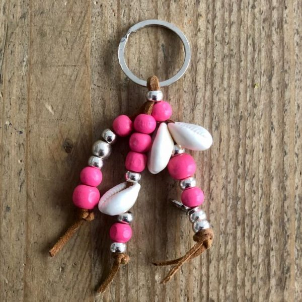 Pink keychain with shells